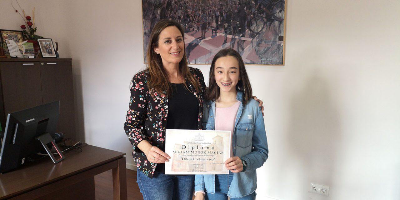 """La alumna Miriam Muñoz Macías gana la fase local del concurso """"Dibuja tu olivar vivo"""" de la Diputación Provincial"""